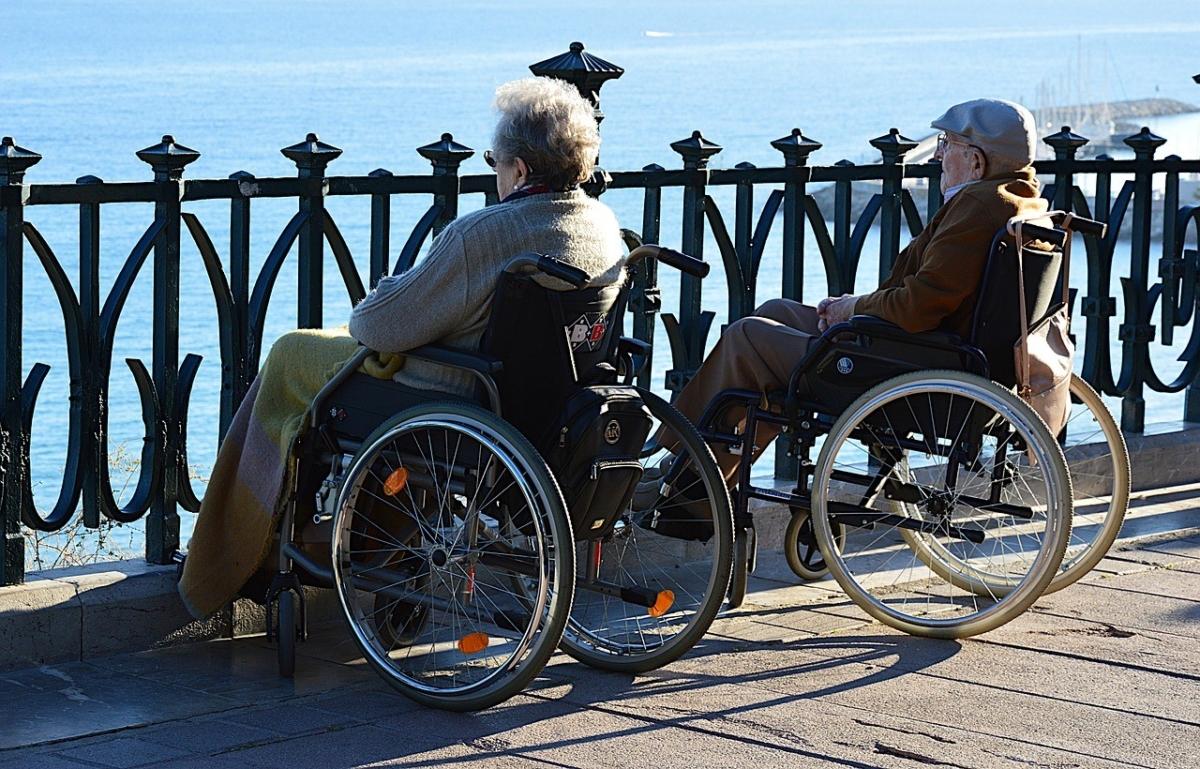 自分のからだに合った車椅子で海を眺める高齢者